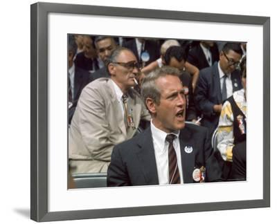 Actor Paul Newman and Playwright Arthur Miller Among Crowd Attending Democratic National Convention