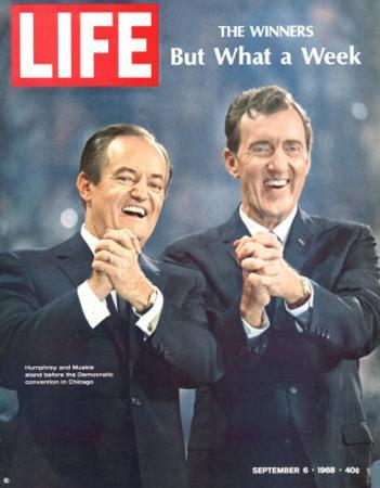 Democratic Primary Winners, Pres Candidate Hubert Humphrey and VP Edmund Muskie, September 6, 1968