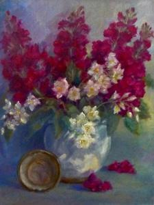 Stocks and Orange Blossom  oil on canvas by Lee Campbell