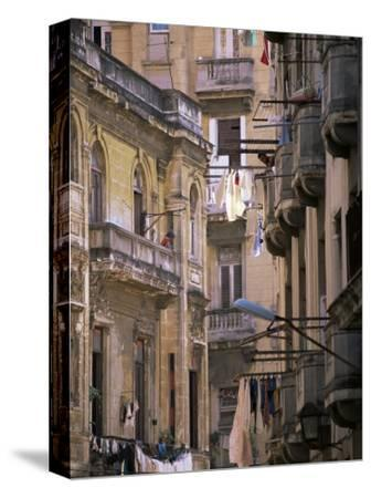 Apartment Buildings with Laundry Hanging from Balconies, Havana, Cuba, West Indies, Central America