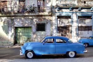 Blue Vintage American Car Parked on a Street in Havana Centro by Lee Frost