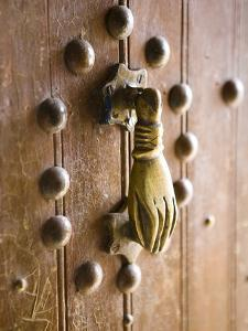 Brass Hand of Fatima Door Knocker, a Popular Symbol in Southern Morocco, Merzouga, Morocco by Lee Frost