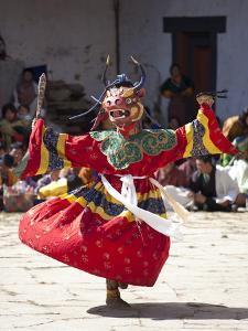 Buddhist Monks Performing Masked Dance During the Gangtey Tsechu at Gangte Goemba, Gangte, Phobjikh by Lee Frost