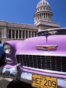 Classic American Car Outside the Capitolio, Havana, Cuba, West Indies, Central America by Lee Frost
