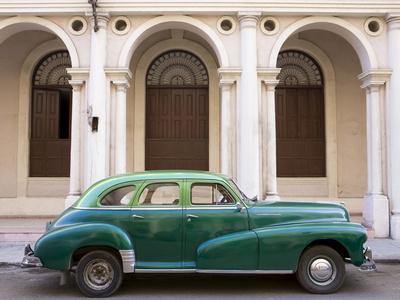 Classic Green American Car Parked Outside the National Ballet School, Havana, Cuba