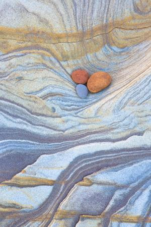 Colourful Patterns Created by Sea Erosion on Rocks Revealed at Low Tide on Spittal Beach