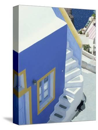 Detail of Brightly Painted House, Oia, Santorini, Cyclades, Greek Islands, Greece, Europe