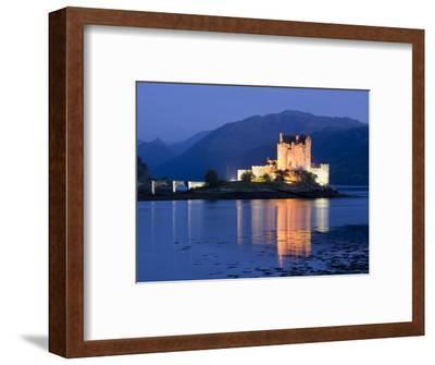 Eilean Donan Castle Floodlit at Night on Loch Duich, Near Kyle of Lochalsh, Highland