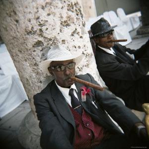 Elderly Men Posing with Cigars, Havana, Cuba, West Indies, Central America by Lee Frost