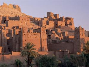 First Light on Fortified Mud Houses in the Kasbah, Ouarzazate, Morocco by Lee Frost