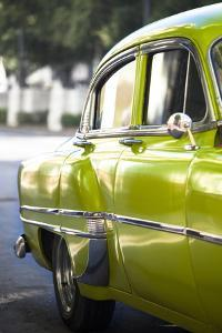 Green Vintage American Car Parked on a Street in Havana Centro by Lee Frost