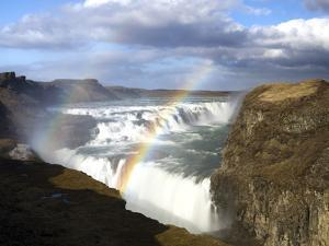 Gullfoss, Europe's Biggest Waterfall, With Rainbow Created From the Falls, Near Reykjavik, Iceland by Lee Frost