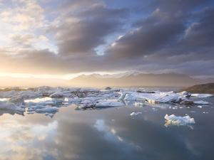 Icebergs Floating on the Jokulsarlon Glacial Lagoon at Sunset, Iceland, Polar Regions by Lee Frost