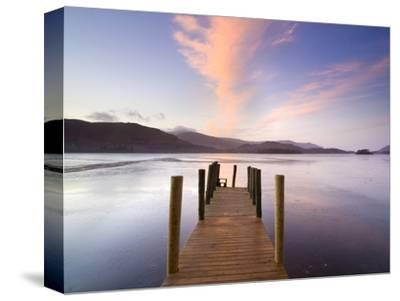 Jetty and Derwentwater at Sunset, Near Keswick, Lake District National Park, Cumbria, England, Uk