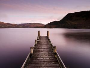 Jetty on Ullswater at Dawn, Glenridding Village, Lake District National Park, Cumbria, England, Uk by Lee Frost