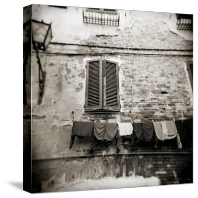 Laundry Hanging from Wall of Old Building, Siena, Tuscany, Italy