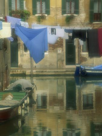 Laundry Hung over Canal to Dry, the Ghetto, Venice, Veneto, Italy, Europe by Lee Frost