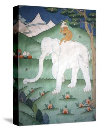 Painting of the Four Harmonious Friends in Buddhism, Elephant, Monkey, Rabbit and Partridge, Inside