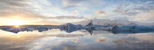Panoramic View at Sunset During Winter over Jokulsarlon by Lee Frost