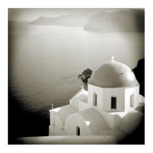 Polaroid of Domed Church, Oia, Santorini, Cyclades, Greek Islands, Greece, Europe by Lee Frost
