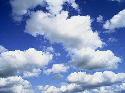 Puffy White Clouds in a Blue Sky in England, United Kingdom, Europe