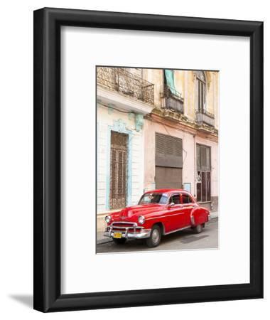 Restrored Red American Car Pakred Outside Faded Colonial Buildings, Havana, Cuba