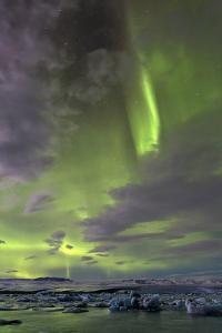 The Aurora Borealis (Northern Lights) over Jokulsarlon Glacial Lagoon, Vatnajokull National Park by Lee Frost