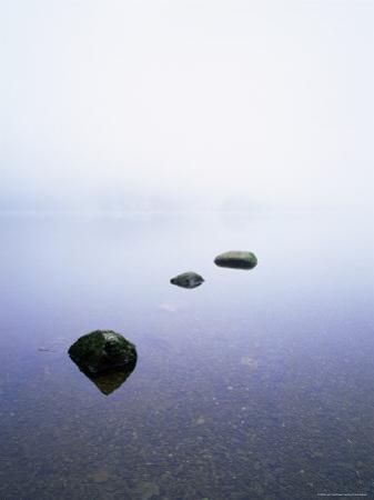 Three Stones on the Edge of Grasmere, Lake District National Park, Cumbria, England, United Kingdom