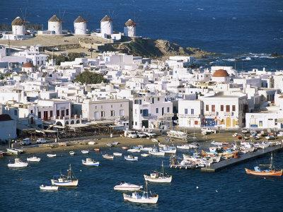 Town, Harbour and Windmills, Mykonos Town, Island of Mykonos, Cyclades, Greece