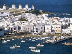 Town, Harbour and Windmills, Mykonos Town, Island of Mykonos, Cyclades, Greece by Lee Frost