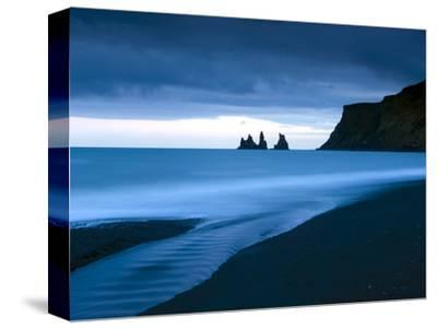 Twilight View Towards Rock Stacks at Reynisdrangar Off the Coast at Vik, South Iceland, Iceland