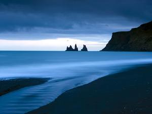 Twilight View Towards Rock Stacks at Reynisdrangar Off the Coast at Vik, South Iceland, Iceland by Lee Frost