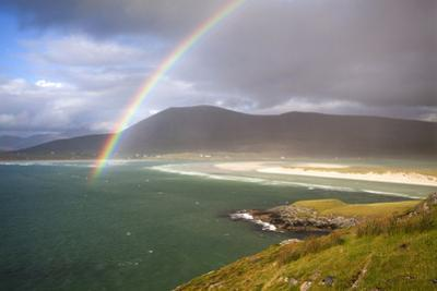 View across the Beach at Seilebost Towards Luskentyre and the Hills of North Harris with a Rainbow