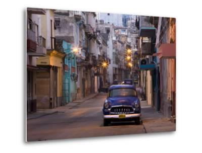 View Along Quiet Street at Dawn Showing Old American Car and Street Lights Still On, Havana, Cuba