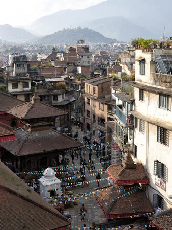 View over Narrow Streets and Rooftops Near Durbar Square Towards the Hilltop Temple of Swayambhunat