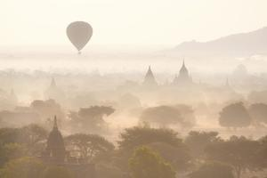 View over the Temples of Bagan Swathed in Early Morning Mist by Lee Frost