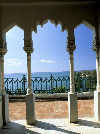 View to Sea Through Moorish Arches at Palacio De Valle, Cienfuegos, Cuba, West Indies