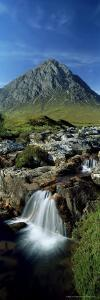 Waterfall on the River Coupall with Buachaille Etive Mor in Background, Western Highlands, Scotland by Lee Frost