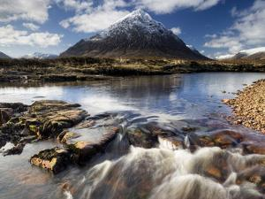 Winter View Over River Etive Towards Snow-Capped Buachaille Etive Mor, Rannoch Moor, Scotland by Lee Frost
