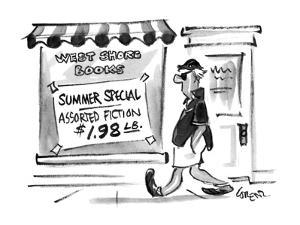 A man walks by a bookstore with a sign in the window. - New Yorker Cartoon by Lee Lorenz