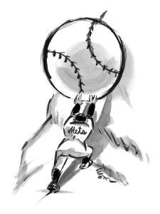 A Mets player pushes a giant baseball up a mountain.  - New Yorker Cartoon by Lee Lorenz