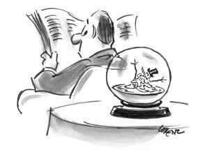 A snowman in a snow globe is melting.  - New Yorker Cartoon by Lee Lorenz