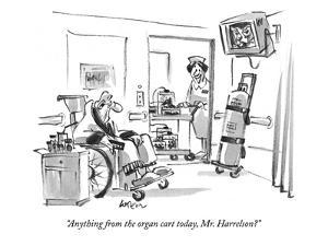 """Anything from the organ cart today, Mr. Harrelson?"" - New Yorker Cartoon by Lee Lorenz"