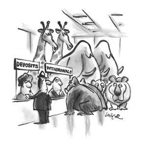 Bank interior, man at Deposits window and Noah's Ark animals, pair by pair? - Cartoon by Lee Lorenz