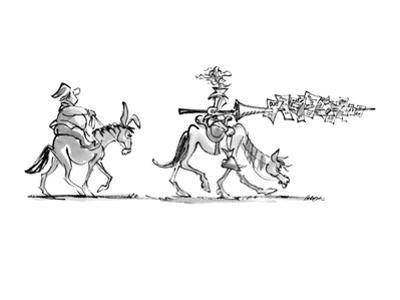 Don Quixote rides along, followed by Sancho Panza. Don Quixote carries a l? - New Yorker Cartoon by Lee Lorenz