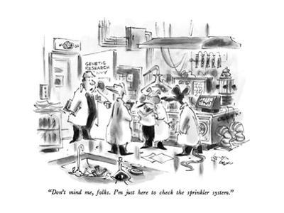 """""""Don't mind me, folks.  I'm just here to check the sprinkler system."""" - New Yorker Cartoon by Lee Lorenz"""