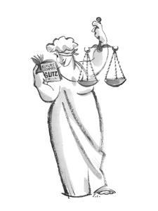 Figure of Blind Justice, with blindfold lifted above one eye, is holding s? - New Yorker Cartoon by Lee Lorenz