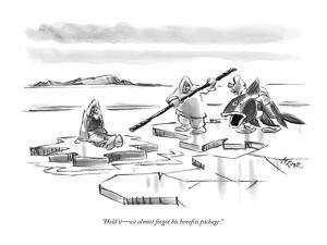 """""""Hold it?we almost forgot his benefits package."""" - New Yorker Cartoon by Lee Lorenz"""