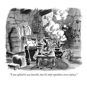 """I was afraid it was bursitis, but it's only repetitive stress injury."" - New Yorker Cartoon by Lee Lorenz"