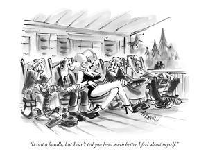 """It cost a bundle, but I can't tell you how much better I feel about myself."" - New Yorker Cartoon by Lee Lorenz"